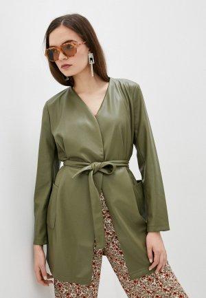 Куртка кожаная Betty & Co. Цвет: хаки