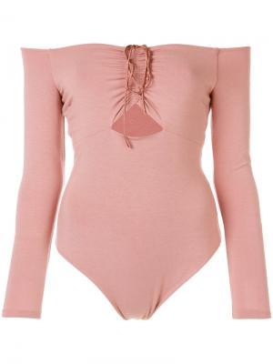 Боди с открытыми плечами T By Alexander Wang. Цвет: розовый и фиолетовый