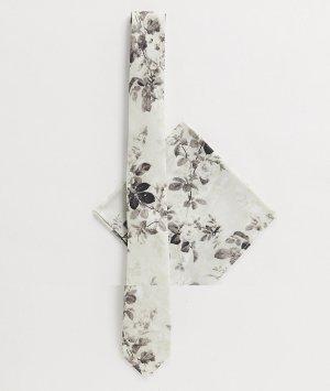 Галстук и платок для пиджака с цветочным принтом -Серый ASOS DESIGN