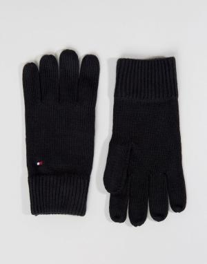 Черные перчатки из смесового кашемира Tommy Hilfiger. Цвет: черный