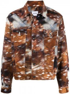 Джинсовая куртка с графичным принтом Lourdes. Цвет: коричневый