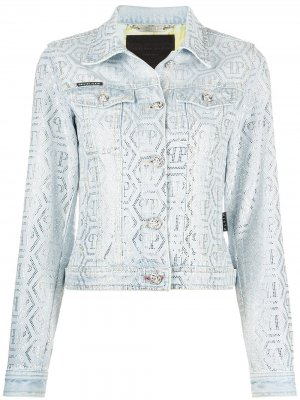 Декорированная джинсовая куртка Philipp Plein. Цвет: синий
