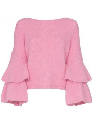 Джемпер с воланами на рукавах byTiMo. Цвет: розовый