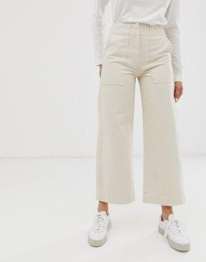 Светло-бежевые укороченные джинсы с широкими штанинами и контрастными строчками -Кремовый ASOS DESIGN