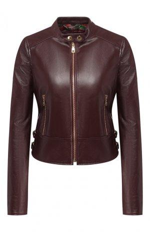 Кожаная куртка Dolce & Gabbana. Цвет: красный