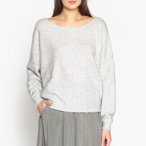 Пуловер с вырезом-лодочкой из тонкого трикотажа DAM AMERICAN VINTAGE. Цвет: серый меланж