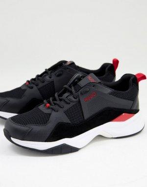 Черные кожаные кроссовки Block Runn-Черный цвет HUGO