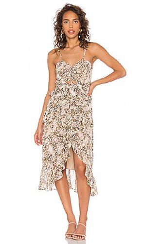 Платье миди briana Bardot. Цвет: коричневый