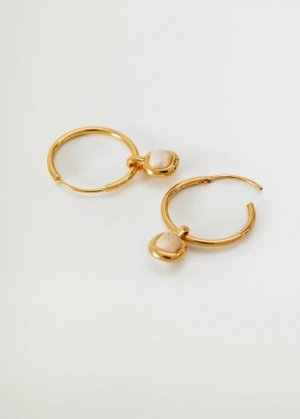 Серьги-кольца из камня - Aura Mango. Цвет: золото