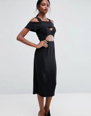 Платье миди с оборками AQ/AQ AQ. Цвет: черный