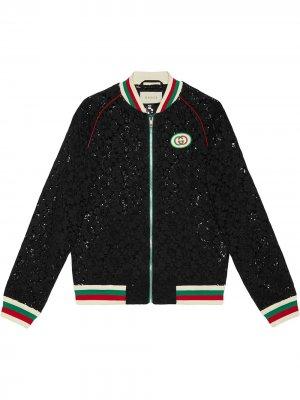 Куртка-бомбер с цветочным кружевом Gucci. Цвет: черный