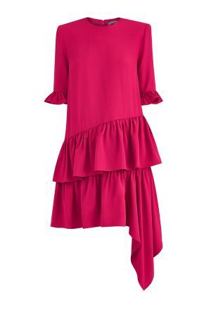 Платье оттенка фуксии с многослойным асимметричным подолом ALEXANDER MCQUEEN. Цвет: розовый