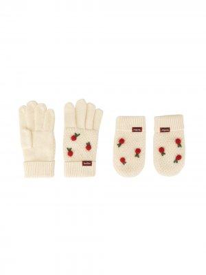 Комплект из варежек и перчаток вязки интарсия с вышивкой Familiar. Цвет: белый