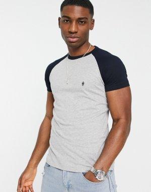 Светло-серая футболка с темно-синими рукавами реглан -Серый French Connection