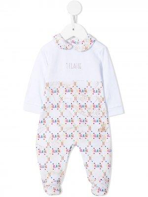 Пижама с монограммой и принтом Alviero Martini Kids. Цвет: белый