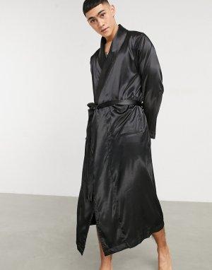 Черный атласный халат от комплекта -Черный цвет ASOS DESIGN