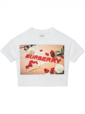 Футболка с принтом и логотипом Burberry Kids. Цвет: белый