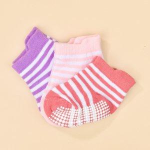 Детский 3 пары Носки до щиколотки в полоску SHEIN. Цвет: многоцветный