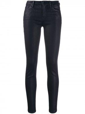 Вощеные джинсы скинни 7 For All Mankind. Цвет: синий