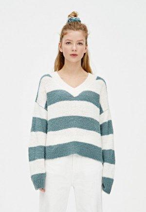 Пуловер Pull&Bear. Цвет: бирюзовый