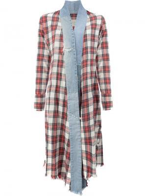 Винтажное клетчатое удлиненное кимоно Greg Lauren. Цвет: красный