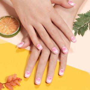 24шт Детские накладные ногти в полоску & 1 лист лента SHEIN. Цвет: нежний розовый