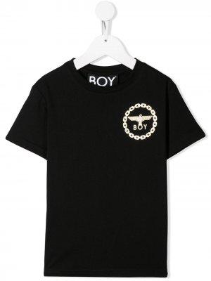 Футболка с логотипом Boy London Kids. Цвет: черный
