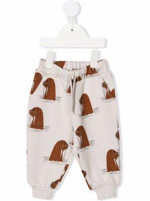 Walrus-print track pants Mini Rodini. Цвет: серый