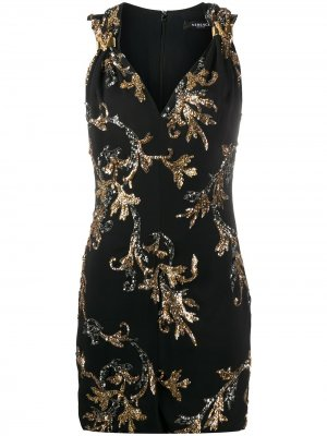 Платье с пайетками Versace. Цвет: черный