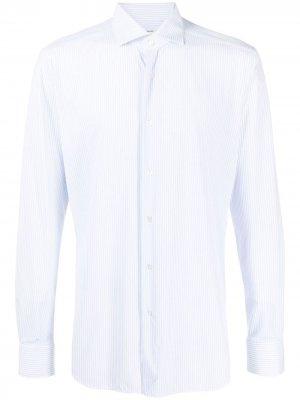 Полосатая рубашка с длинными рукавами Xacus. Цвет: синий