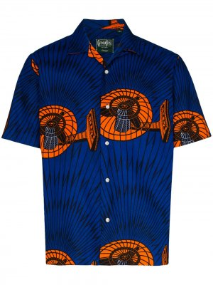 Рубашка Fan с короткими рукавами и принтом Gitman Vintage. Цвет: синий