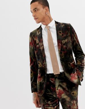 Приталенный бархатный пиджак с цветочным принтом -Коричневый Devils Advocate
