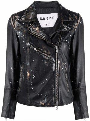 Байкерская куртка с принтом S.W.O.R.D 6.6.44. Цвет: черный