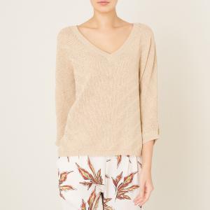 Пуловер с V-образным вырезом и металлической нитью STELLA FOREST. Цвет: золотистый