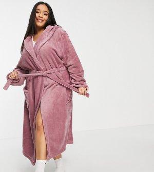 Длинный флисовый халат нежно-розового цвета Plus Olivia-Розовый цвет Brave Soul
