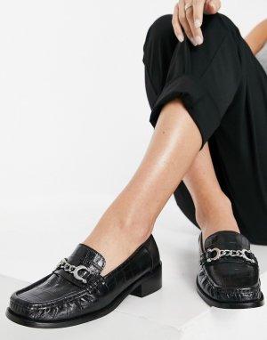 Черные лоферы из имитации крокодиловой кожи с декоративной пряжкой -Черный цвет Topshop