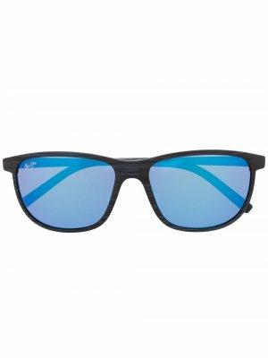 Солнцезащитные очки в круглой оправе Maui Jim. Цвет: синий