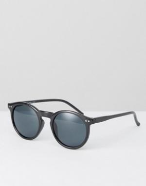 Круглые солнцезащитные очки в черной оправе New Look. Цвет: черный