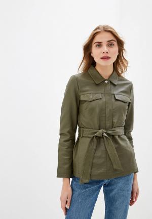 Куртка кожаная Selected Femme. Цвет: хаки