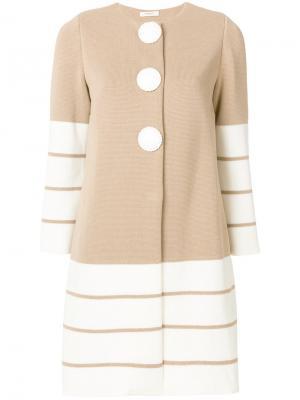 Трикотажное пальто с контрастными вставками в полоску Charlott. Цвет: нейтральные цвета