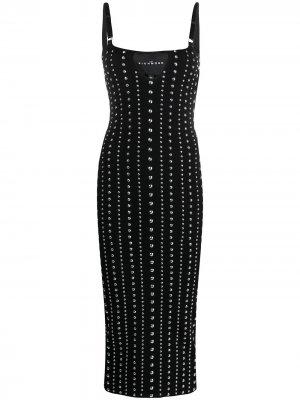 Платье миди с заклепками John Richmond. Цвет: черный