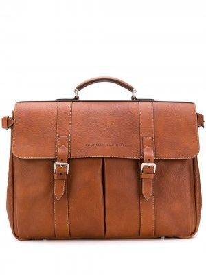 Классический портфель Brunello Cucinelli. Цвет: коричневый