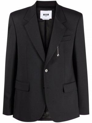 Однобортный пиджак с заостренными лацканами MSGM. Цвет: черный