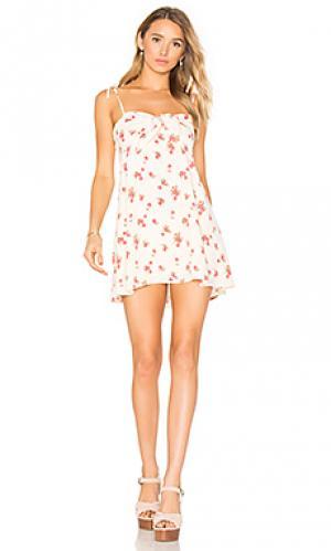 Платье-майка cherry For Love & Lemons. Цвет: кремовый