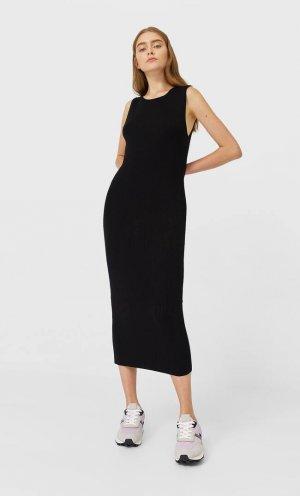 Длинное Трикотажное Платье Женская Коллекция Черный S Stradivarius. Цвет: черный