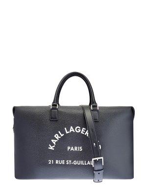 Дорожная сумка с контрастным принтом Rue St-Guillaume KARL LAGERFELD. Цвет: черный