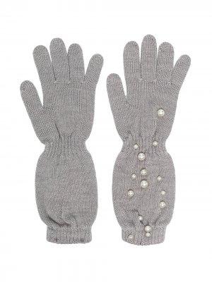 Перчатки с искусственным жемчугом Monnalisa. Цвет: серый