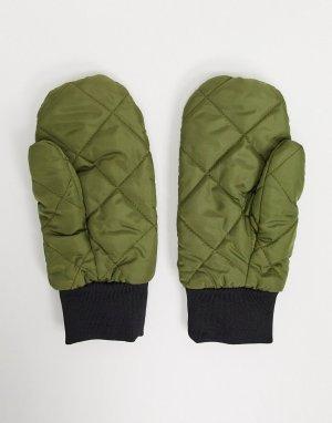 Стеганые варежки цвета хаки -Зеленый Vero Moda