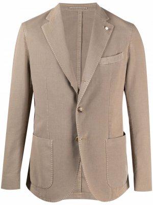 Однобортный пиджак LUIGI BIANCHI MANTOVA. Цвет: нейтральные цвета