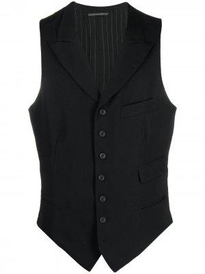 Однобортный жилет Yohji Yamamoto. Цвет: черный